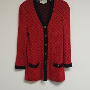 St. John Collection Red and Black Cardigan Size P